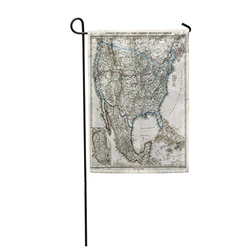 """Tarolo Decoration Flag Vintage 1872 Antique Stieler Map of The United States America USA Old Atlas World Thick Fabric Double Sided Home Garden Flag 12"""" W x 18"""" H"""