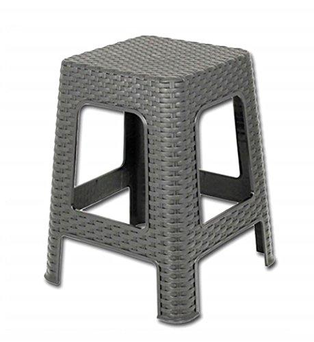Hocker - Tisch aus Rattan 45x28 cm Grau - Flechtoptik - Rattan-Stuhl Sitz-Hocker aus Kunstoff Bad-Hocker Küchen-Hocker - Milumi Edition