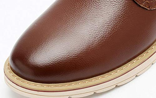 Herbst Echtes Herren Leder Schuhe Casual Shiney Business Brown Karriere Büro Runde Hochzeit Kopf tTaqpx