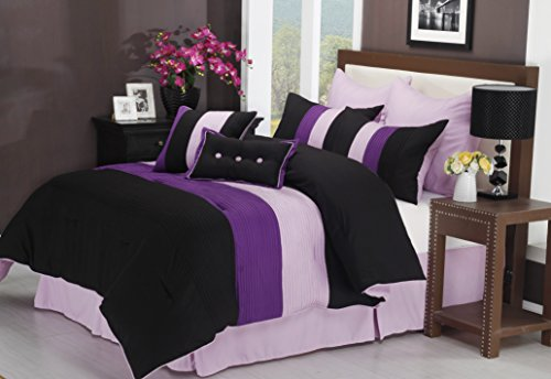 Superior 8-Piece Luxurious Florence Comforter Set, Beautiful Pleated Bed-in-a-Bag, King, Purple