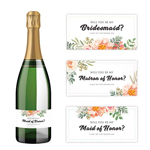 Will You Be My Bridesmaid Stickers | Mini Champagne Bottle Labels | Proposal Ideas ask Sister, Best Friend (Red Floral)