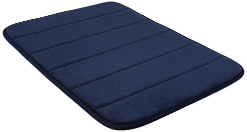 WPM WORLD PRODUCTS MART Navy Blue Memory Foam Bath Mat-Incredibly Soft and Absorbent Rug, Cozy Velvet Non-Slip Mats Use for Kitchen or Bathroom (17 Inch x 24 Inch, Navy) (Foam Bath Blue Memory Rug)
