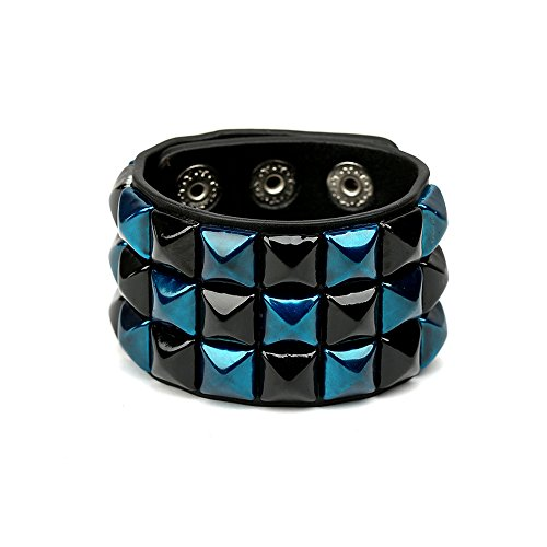 HyperionIE Color 3 Row Pyramid Stud Wristband Punk Leather Bracelet Jewelry Bracelet (A)