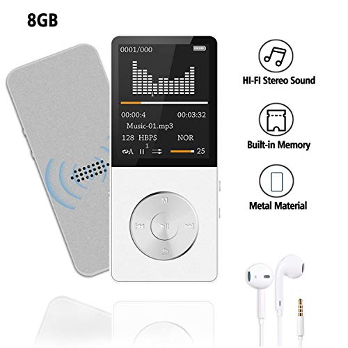 MP4/MP3 Player JBOS Portable MP4 Music Player 8GB Built-in Speaker HiFi Shuffle A-B Playback Bookmark Variable Speed for Audio Books Metal Body FM Radio Voice RecorderGift for Kids