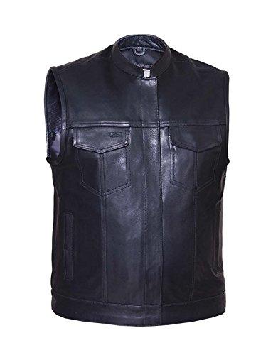 Unik International Mens Premium SOA Style Collared Leather Club Vest Large
