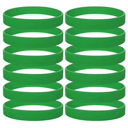 (GOGO 120PCS Silicone Bracelets Adult-Sized Rubber Band Bracelets Wristbands for Party - Kelly Green)