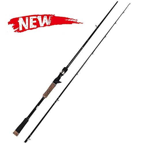 Entsport Monster 2-Piece 7-Feet Catfish Casting Rod Heavy Baitcasting Rod Solid Graphite Catfishing Baitcasting Fishing Rod Portable Baitcast Rod Baitcaster