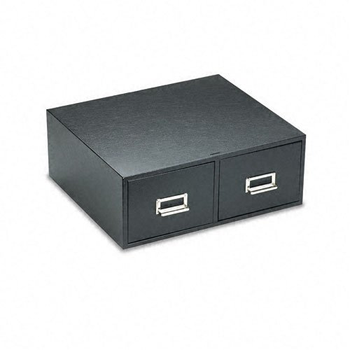 Buddy Products 2 Drawer Card File, Steel, 5 x 8 Inches, Black (1658-4)