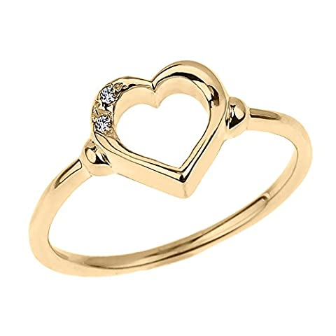 Fine 10k Yellow Gold Dainty Band 2-Stone Diamond Open Heart Ring (Size 5) (10k Gold Ring Size 5)