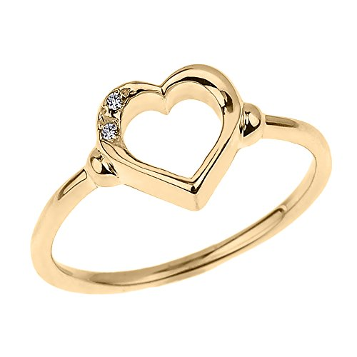 (Modern Contemporary Rings Fine 10k Yellow Gold Dainty Band 2-Stone Diamond Open Heart Ring (Size)