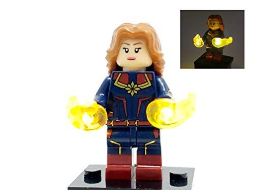 BlingBlingBrick Marvel Avengers Endgame Super Heroes – Handmade LED Light Up Captain Marvel Minifigure (76127)