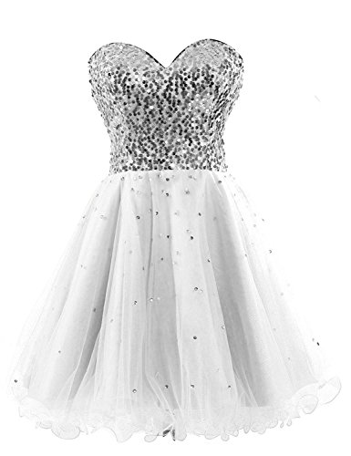 Kleid Homecoming Party Cocktail Kurz Formelle White Kleides Sequin Kleid Women's Fanciest BWqf00
