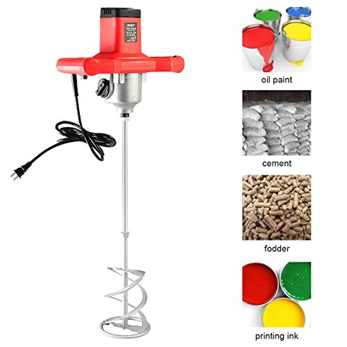 Goplus Electric Mortar Mixer 1600W Handheld Stirring Tool Dual High Low Gear Adjustable 7 Speed Paint Cement Grout ()
