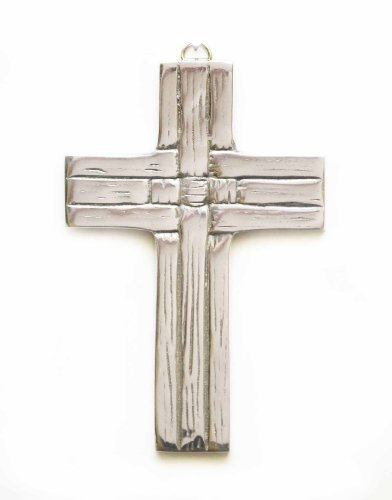 POLISHED ALUMINUM WEAVE PATTERN WALL CROSS-6.5 INCHES ()