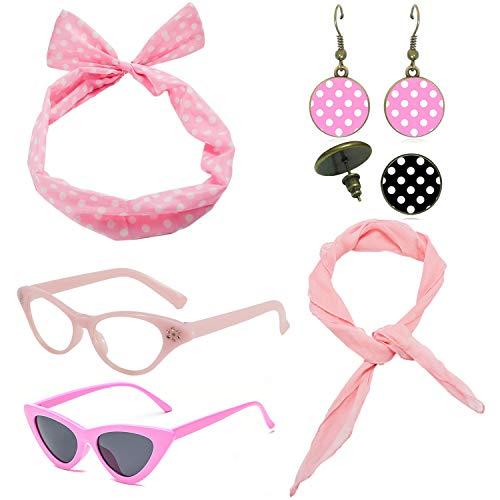 1950's Womens Costume Accessories Set - 50s Chiffon Scarf,Cat Eye Glasses,Bandana Tie Headband,Drop Dot Earrings (Pink) ()