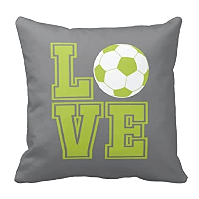 Custom Soccer Ball Throw Pillow & Cover-LOVE-Grey, Bright Chartreuse, White OR Customize with ANY Colors-14x14