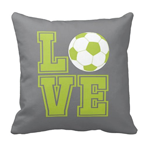 Custom Soccer Ball Throw Pillow & Cover-LOVE-Grey, Bright Chartreuse, White OR Customize with ANY Colors-14x14 - Easy Throwback Costumes