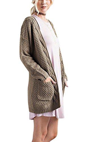 Dreamparis Women's Open Front Cable Twist Boyfriend Pockets Long Sleeve Classic Knit Cardigan Sweater Large ()