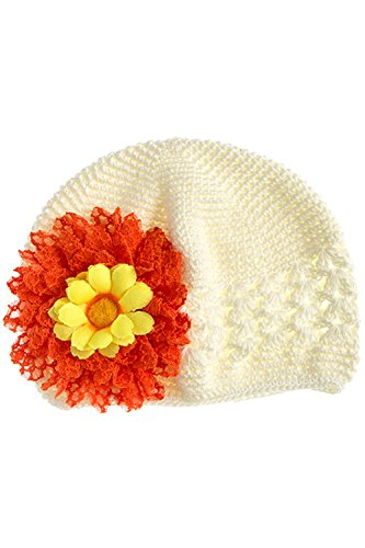 Weiss Costume Jewelry (TRENDY FASHION JEWELRY LACE FLORAL ACCENT BABY GIRL KNIT BEANIE BY FASHION DESTINATION | (IVORY/ORANGE))