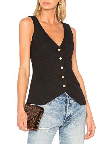 Front Waistcoat - May&Maya Women's Front Button Closure Waistcoat Vest Tops (Black, XL)