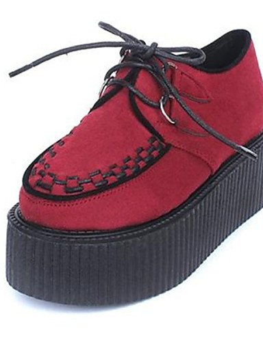 Black Red Rojo 5 De Negro us5 Plataforma us8 Uk3 Zapatos Mujer Punta Casual Redonda Eu35 Uk6 Cn40 Cn34 Tejido 5 Eu39 Creepers Oxfords Zq wPH7Aqf