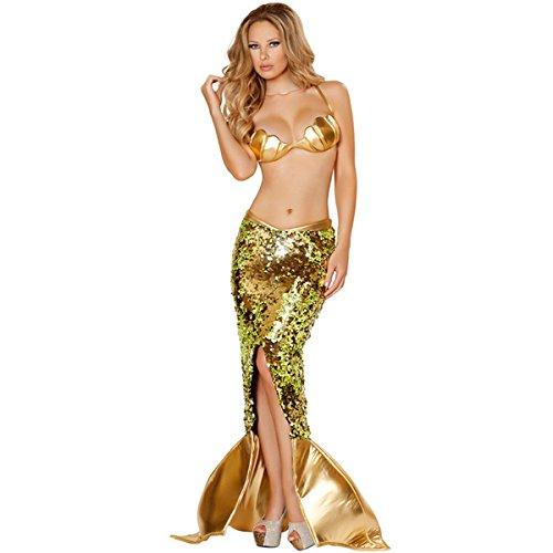 MENGDA Halloween Party Cosplay Mermaid Dress Women Sexy Green Mermaid Dress (M, Gold)