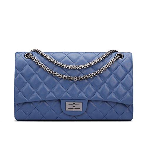 Bag Purse Crossbody Hobo Genuine Handbag Women's Blue Shoulder Ainifeel Leather Quilted qF0BC