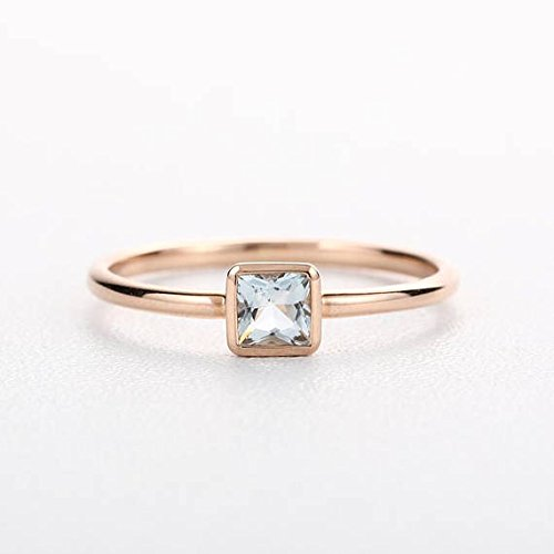 (0.3carat Natural Princess Cut Aquamarine Solid 14k Rose Gold Minimalist Engagement Ring Plain Thin Wedding Band Bezel Dainty Bridal Set Simple Anniversary Gift for Her Birthstone)