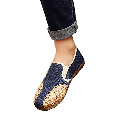 Mens Chinese Style Cutouts Flax Straw Braid Sandals Breathable Linen Canvas Slip-on Summer Flat Shoes Blue