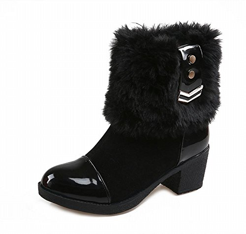 Carolbar Womens Fashion Faux Fur Comfort Eleganza Zipper Charm Mid Heel Dress Boots Nero
