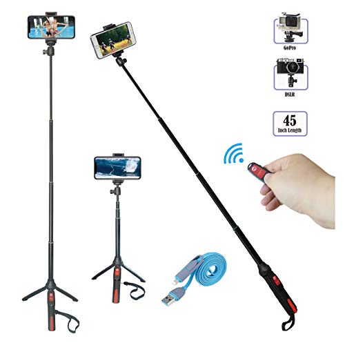 Selfie Stick Tripod, 45 in Extendable Monopod with Bluetooth Remote for Gopro Camera/iPhone X/iPhone 8/8 Plus/iPhone 7/iPhone 6/Samsung Galaxy S9/S9 Plus/Note 8/S8/S7/More 360 Degree Rotation