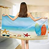 Chaneyhouse Seashells,Baby Bath Towel,Holiday Theme Sunglasses Beach Summer Surfboard Daytime Sunny Starfish Seashells,Print Wrap Towels,Multicolor Size: W 10'' x L 39.5''