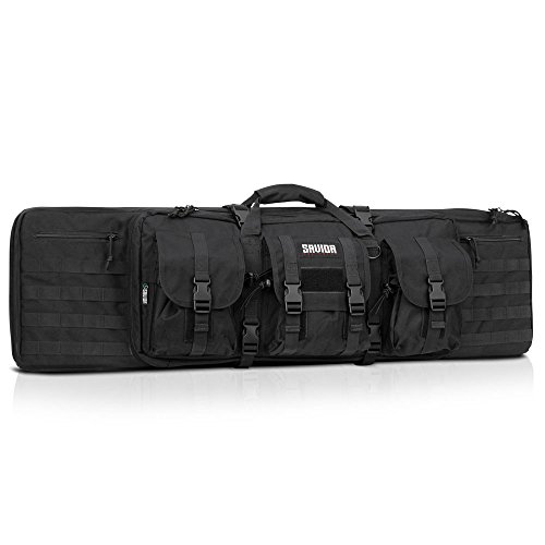 Savior Equipment American Classic Tactical Double Long Rifle Pistol Gun Bag Firearm Transportation Case w/Backpack - 55 Inch Obsidian Black