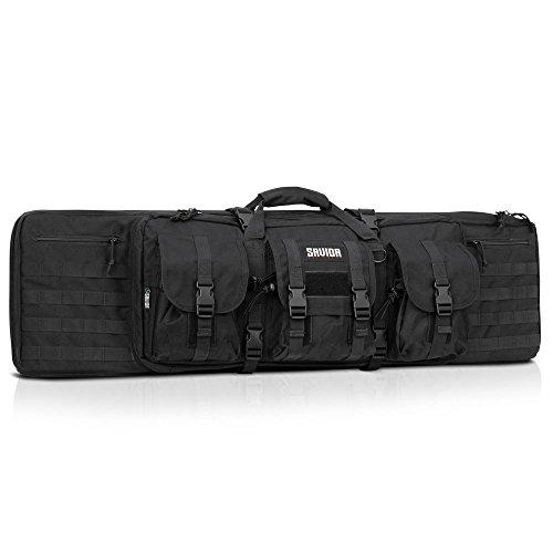 Savior Equipment American Classic Tactical Double Long Rifle Pistol Gun Bag Firearm Transportation Case w/Backpack - 55 Inch Obsidian Black ()