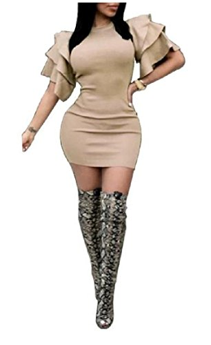 Mini Women Bodycon Dress Fit Crewneck Slim Flounced Coolred Hem As1 WSAwf0dnq