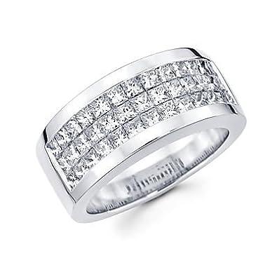 Size T Princess Cut Channel Set 14ct White Gold Mens Diamond