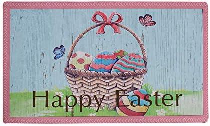 E-view Happy Easter Welcome Door Mat Outdoor Indoor Doormat, Anti-Skid Washable Funny Floor Rug Home D cor 17 x29 Easter Basket