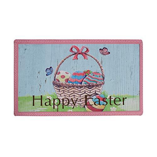 E-view Happy Easter Welcome Door Mat Outdoor Indoor Doormat, Anti-Skid Washable Funny Floor Rug Home Décor 17