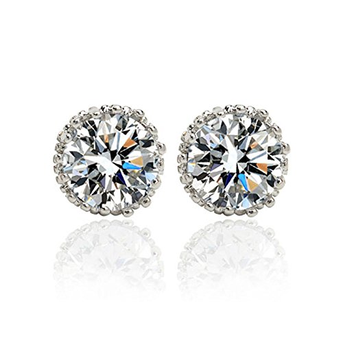 cheap Platinum Plated 1CT Cubic Zirconia Round-Cut Single Stone Stud Earrings free shipping