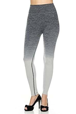 2LUV Women's High Waisted Seamless Ombre Yoga Leggings Black S