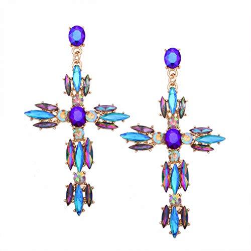 Big Cross Earrings For Women Girls Large Earrings Vintage Crystal Dangle Earrings Rhinestone Summer Jewelry ()