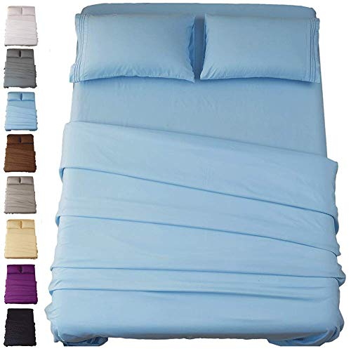 Sonoro Kate Bed Sheet Set Super Soft Microfiber 1800 Thread Count Luxury Egyptian Sheets 18-Inch Deep Pocket Wrinkle and Hypoallergenic-4 Piece(King Lake Blue) ()