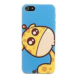 ZCL-Tierra Azul patrón de la historieta de la jirafa linda de la cubierta de plástico duro de nuevo caso para el iphone 5/5S