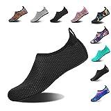 HMIYA Aqua Socks Beach Water Shoes Barefoot Yoga Socks Quick-Dry Surf Swim Shoes for Women Men (Black Dot, 38/39EU)