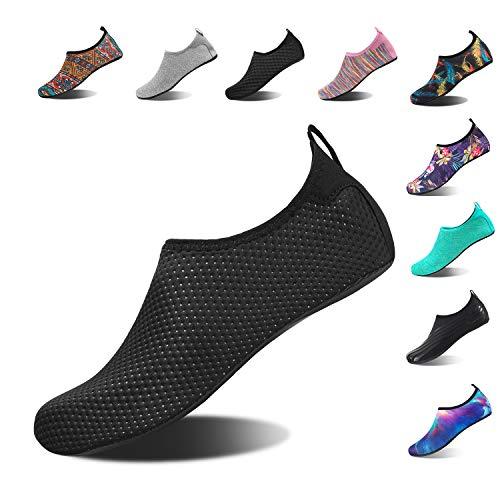 (HMIYA Aqua Socks Beach Water Shoes Barefoot Yoga Socks Quick-Dry Surf Swim Shoes for Women Men (Black Dot, 38/39EU))