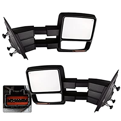 YITAMOTOR Towing mirrors for 2007-2015 Ford F150 Pair Set Power Heated with LED Signal and Puddle Light Side Mirrors