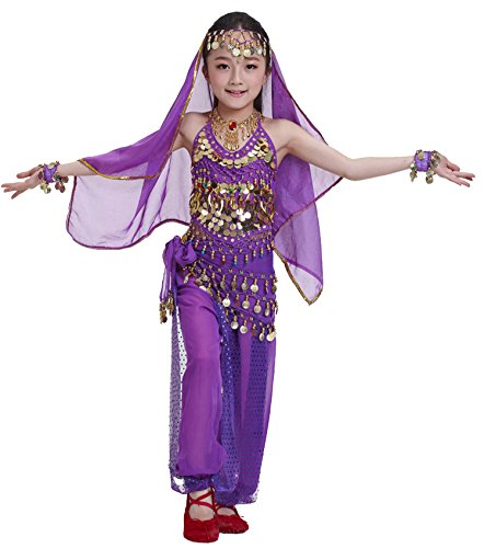 Astage Kids Princess Girl Indian Belly Dance Costume Cosplay Bollywood Ornaments,Purple,XS For height 35in-49in