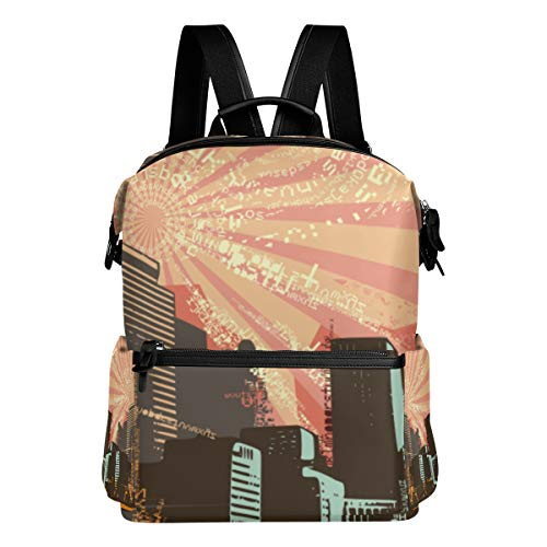 MOBEITI Cityscape Grunge Background Vector Illustration Series Laptop Backpack Leather Strap School Bag Outdoor Travel Casual Daypack