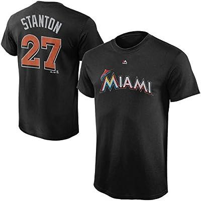 Giancarlo Stanton Miami Marlins #27 Youth Player T-shirt Black