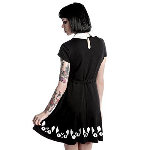 Killstar Kitty Keiko Skater Kleid Schwarz rHEtr7w0vq